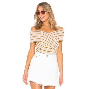 Lovers + Friends Gina Wrap Bodysuit Rainbow Stripe